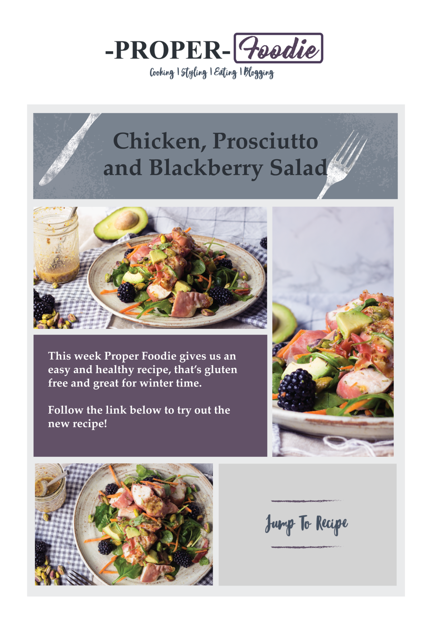 Proper foodie recipe chicken prosciutto and blackberry salad chicken prosciutto and blackberry salad recipe forumfinder Choice Image