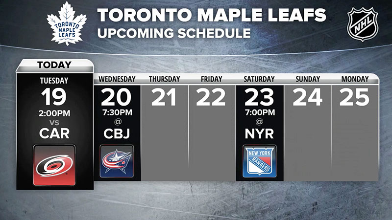 Toronto Mapleleafs schedule still image from Good Life Fitness Health Club info still from ZOOM Media's Fit TV Gym Video Network