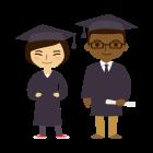 Generation Active consommateurs ont un diplome d'etudes superieures, homme et femme en tenue de graduation