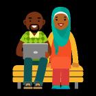 homme avec ordinateur portable et femme aux revenus au-dessus de la moyenne