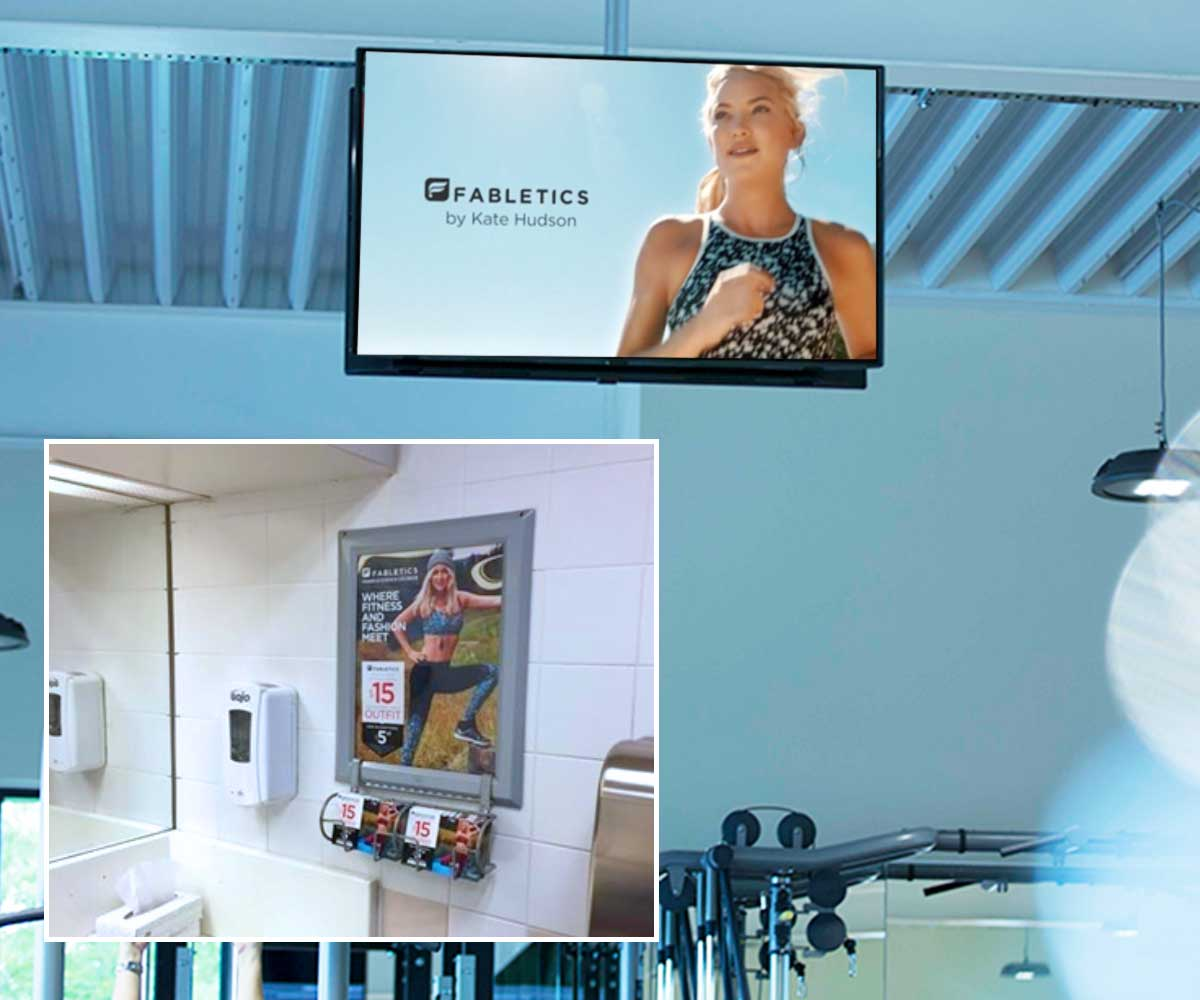 Fabletics's ZOOM Media Campaign Collage Locker Room Signage & Coupons Video with Sound on the Generation Active Network Case Studies