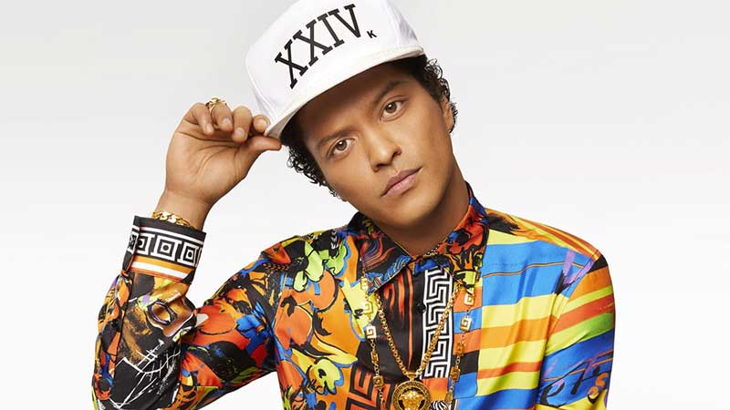 Photo of music artist Bruno Mars on ZOOM Media Gym Video Network