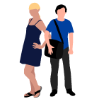 Young consumers ages 16 to 34 a young woman in a black dress with a young man in a t-shirt carrying a satchel