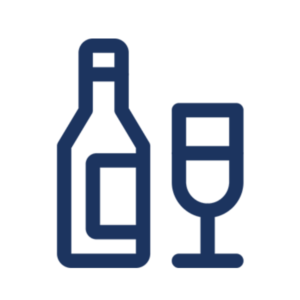 Icon Illustration of a bottle of wine and a wine glass, alcoholic beverages