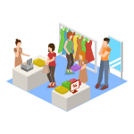 Isometric icon illustration of Shoppers at point of purchase
