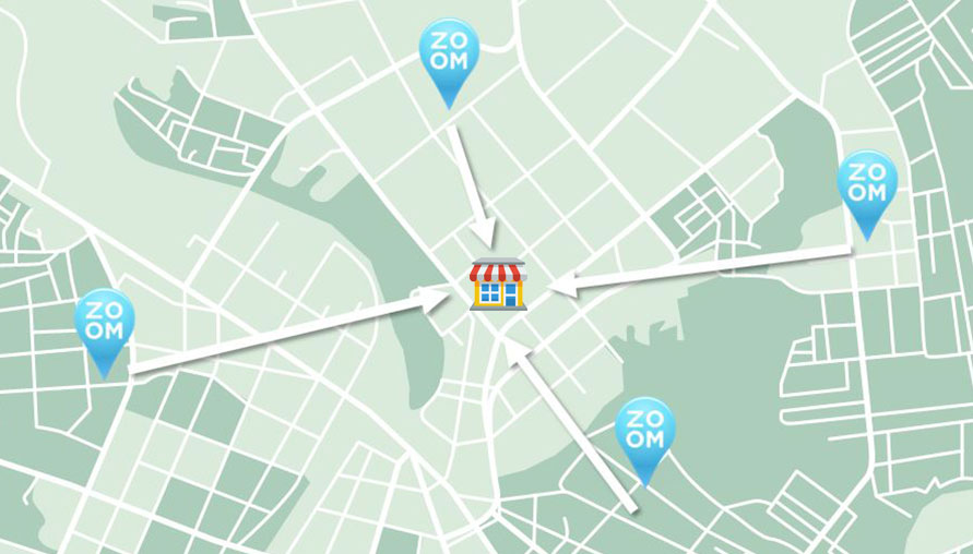 Map Illustration with geotagging store location