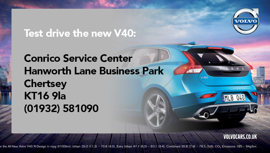 Advertisement for a New Blue Volvo with geotagging map test drive location