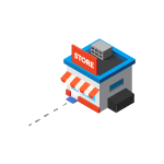 Isometric icon illustration of a small independent store